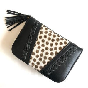 NWOT Boho Wallet Leather Animal Print Tassel Black Cream Brown Storage Mirror